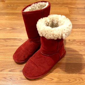 Red BEAR PAW Shearling Boots